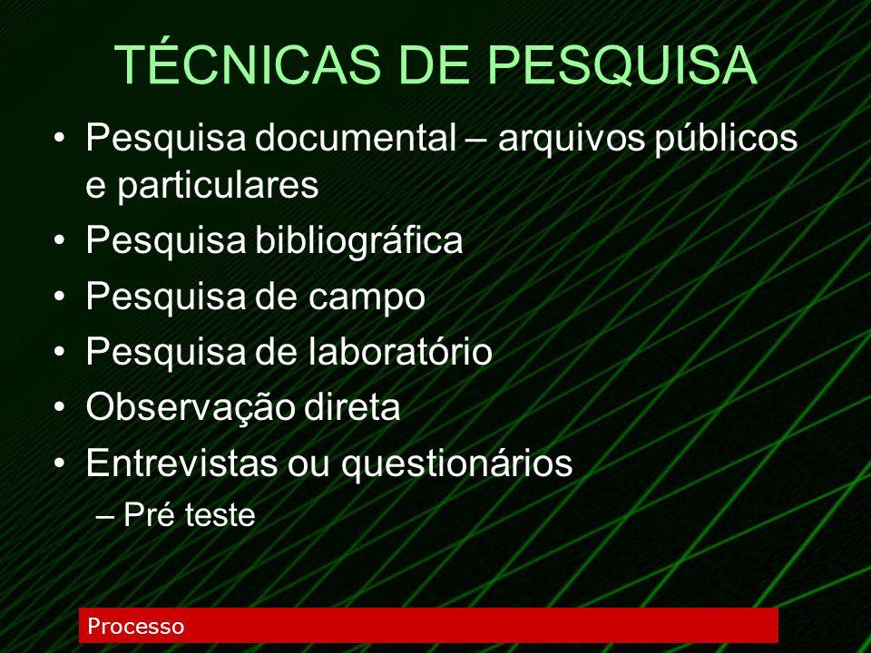 TÉCNICAS DE PESQUISAPesquisa documental – arquivos públicos e particulares. Pesquisa bibliográfica.