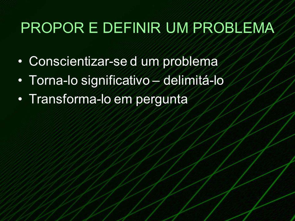 PROPOR E DEFINIR UM PROBLEMA