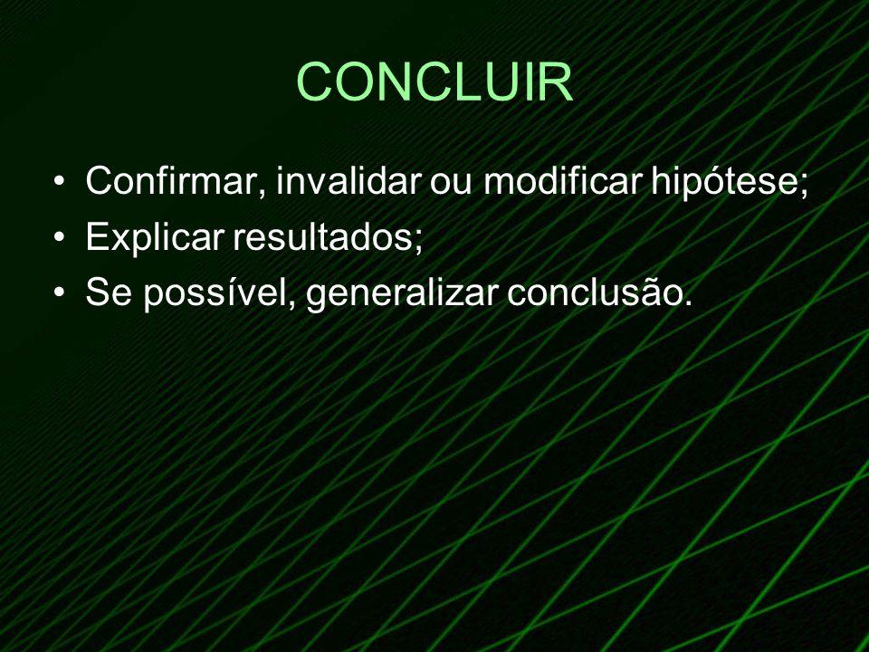 CONCLUIR Confirmar, invalidar ou modificar hipótese;