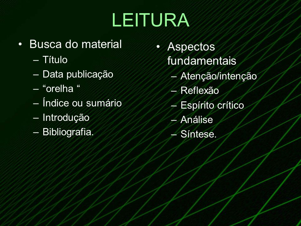 LEITURA Busca do material Aspectos fundamentais Título Data publicação