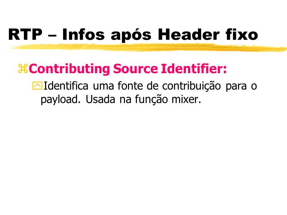 RTP – Infos após Header fixo