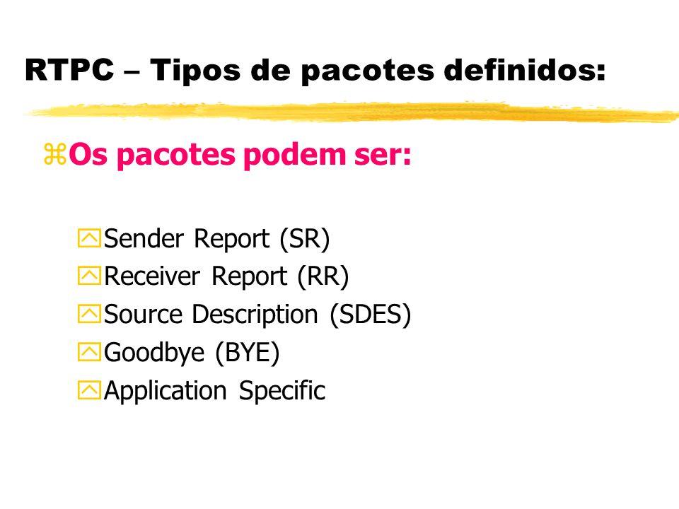 RTPC – Tipos de pacotes definidos: