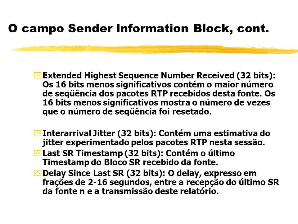 O campo Sender Information Block, cont.