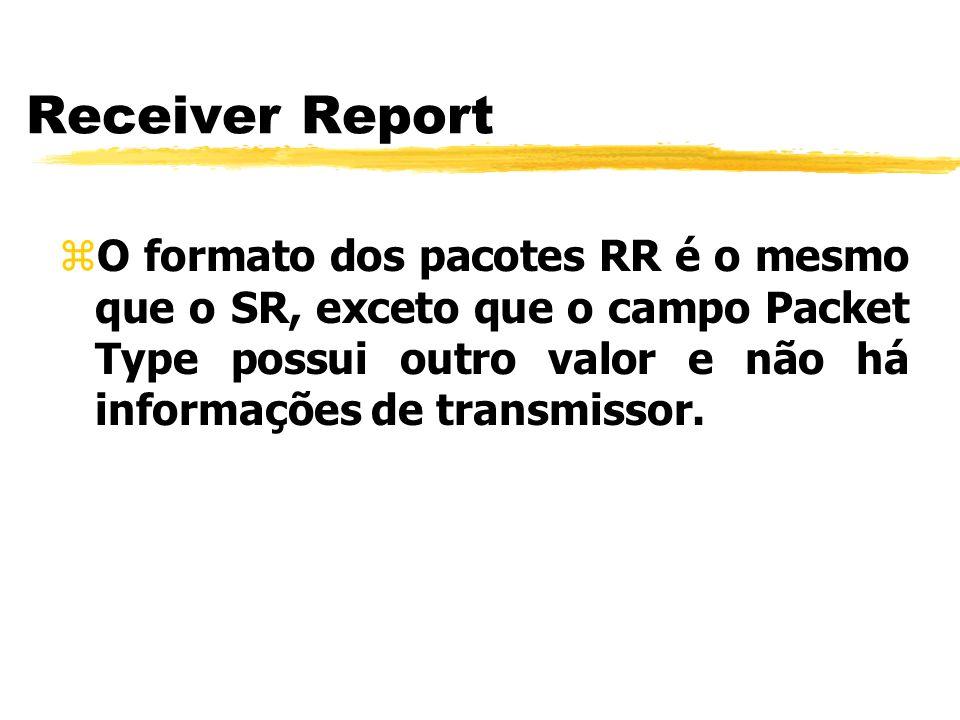 Receiver ReportO formato dos pacotes RR é o mesmo que o SR, exceto que o campo Packet Type possui outro valor e não há informações de transmissor.