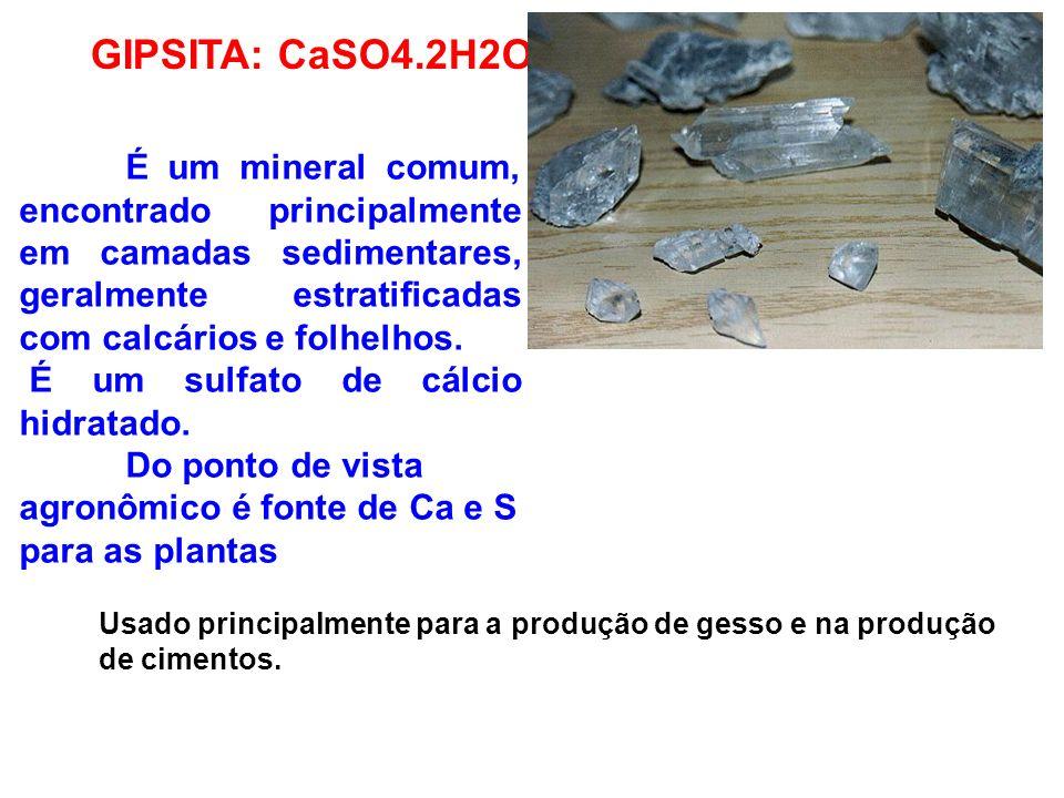 GIPSITA: CaSO4.2H2O É um sulfato de cálcio hidratado.