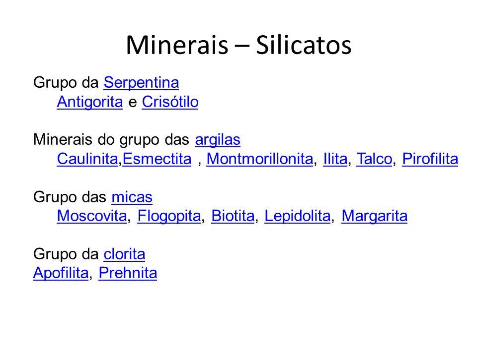 Minerais – Silicatos Grupo da Serpentina Antigorita e Crisótilo