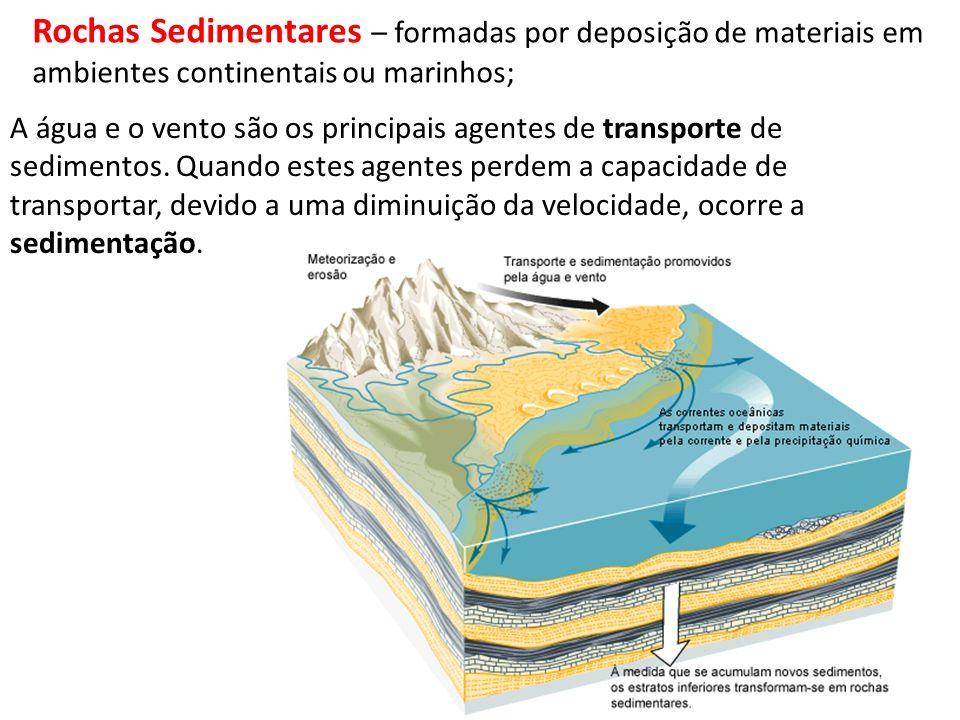 Rochas Sedimentares – formadas por deposição de materiais em ambientes continentais ou marinhos;