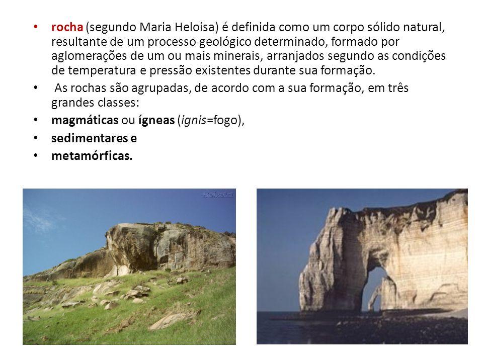 rocha (segundo Maria Heloisa) é definida como um corpo sólido natural, resultante de um processo geológico determinado, formado por aglomerações de um ou mais minerais, arranjados segundo as condições de temperatura e pressão existentes durante sua formação.