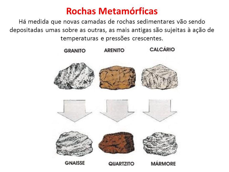 Rochas Metamórficas Há medida que novas camadas de rochas sedimentares vão sendo depositadas umas sobre as outras, as mais antigas são sujeitas à ação de temperaturas e pressões crescentes.