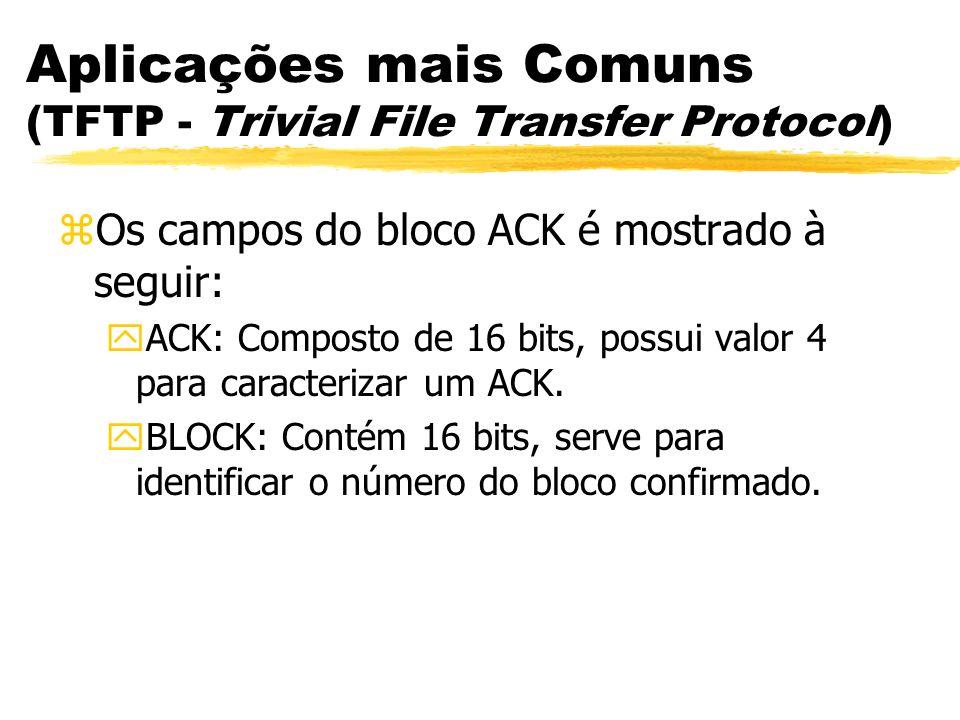 Aplicações mais Comuns (TFTP - Trivial File Transfer Protocol)