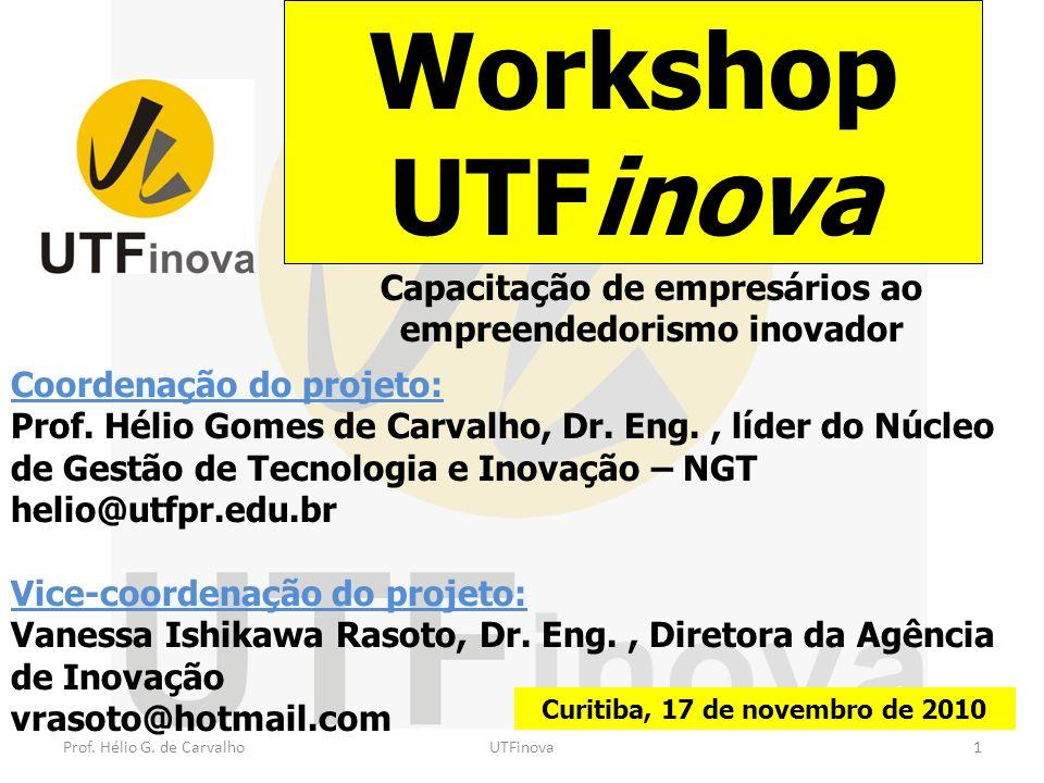 Workshop UTFinova Capacitação de empresários ao empreendedorismo inovador. Coordenação do projeto: