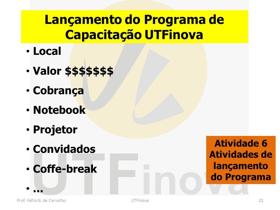 Lançamento do Programa de Capacitação UTFinova