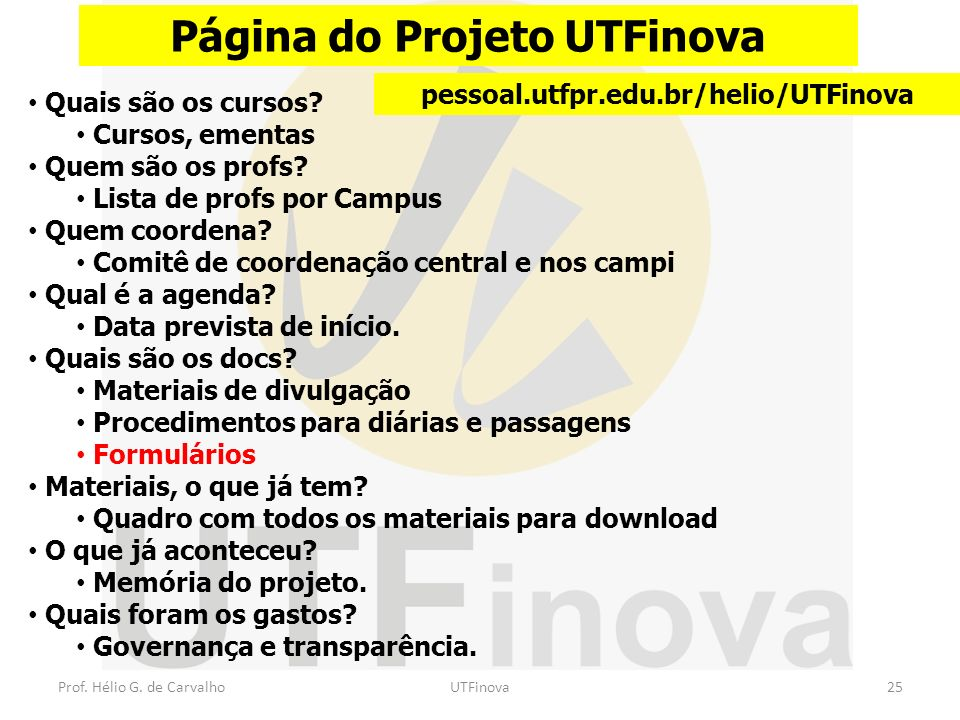 Página do Projeto UTFinova pessoal.utfpr.edu.br/helio/UTFinova