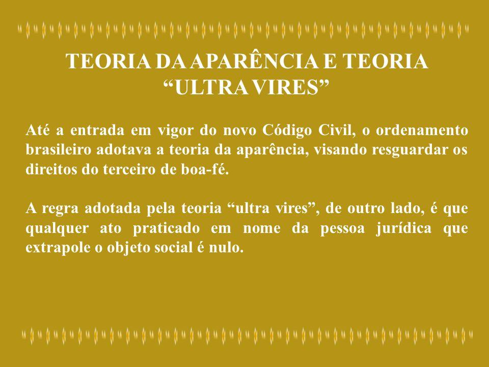 TEORIA DA APARÊNCIA E TEORIA ULTRA VIRES