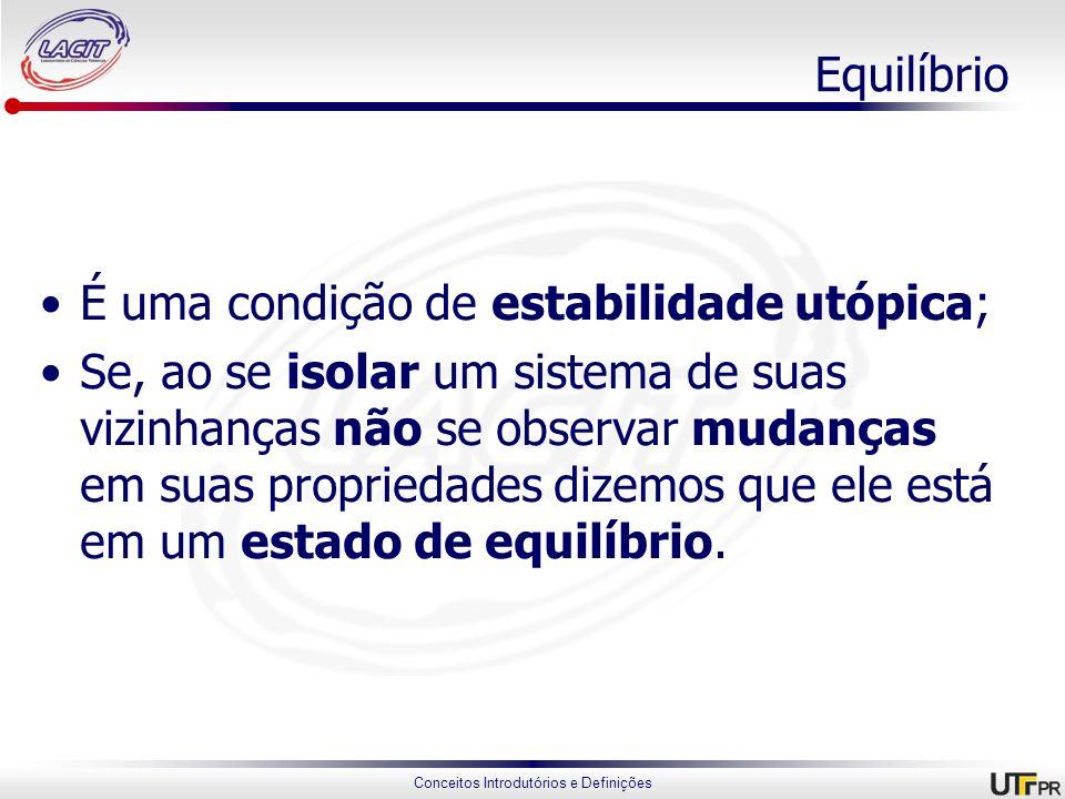 Equilíbrio É uma condição de estabilidade utópica;