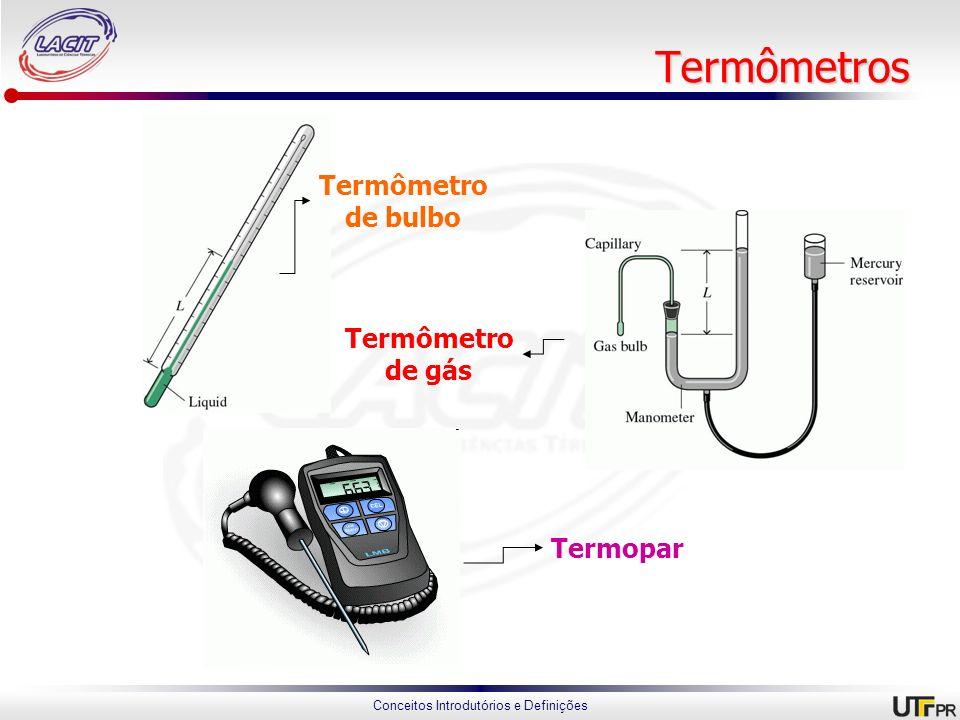 Termômetros Termômetro de bulbo Termômetro de gás Termopar