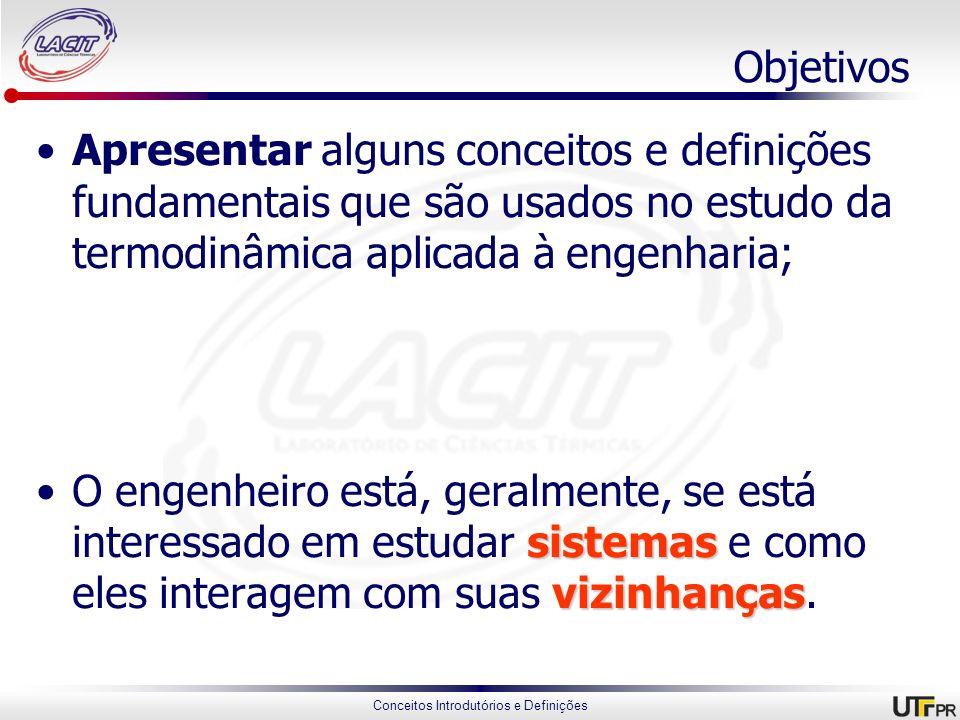 Objetivos Apresentar alguns conceitos e definições fundamentais que são usados no estudo da termodinâmica aplicada à engenharia;