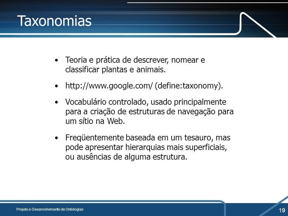 Taxonomias Teoria e prática de descrever, nomear e classificar plantas e animais. http://www.google.com/ (define:taxonomy).