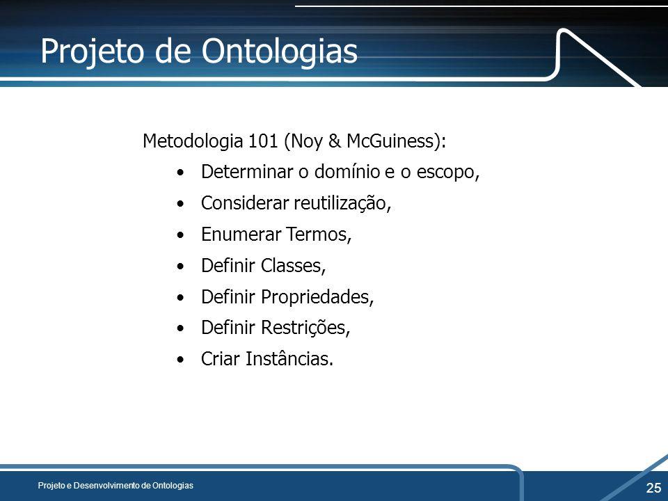 Projeto de Ontologias Metodologia 101 (Noy & McGuiness):