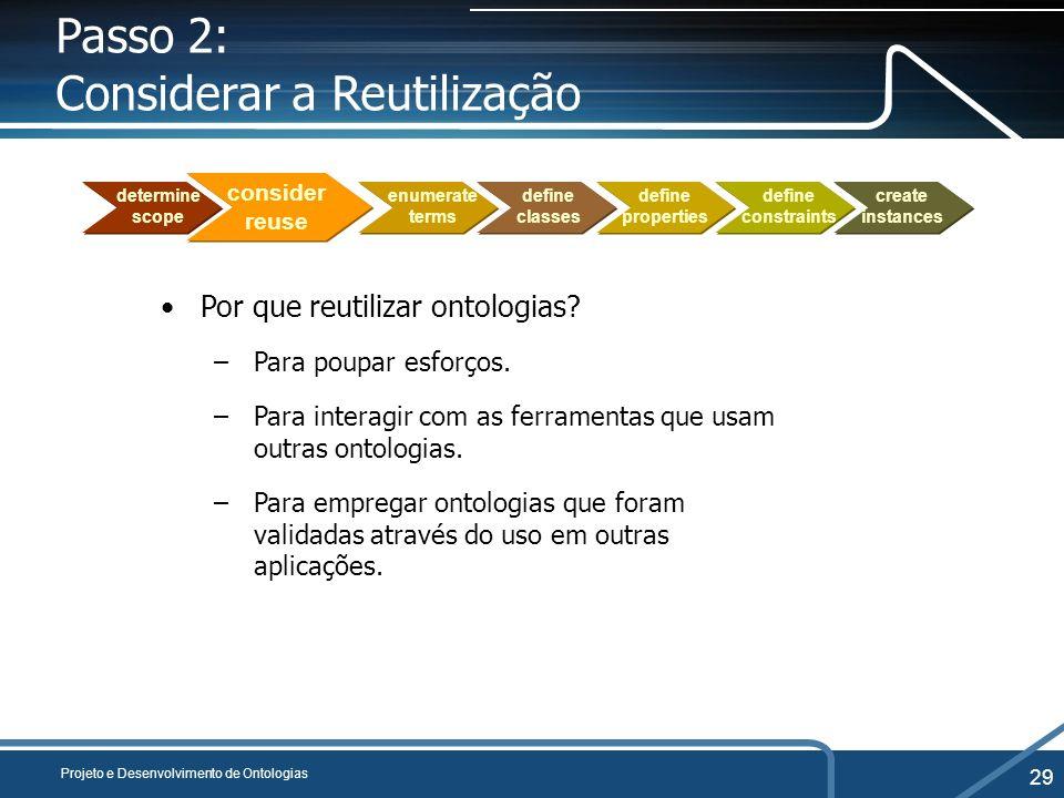 Passo 2: Considerar a Reutilização