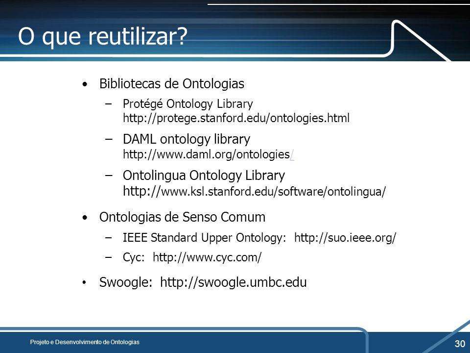O que reutilizar Bibliotecas de Ontologias