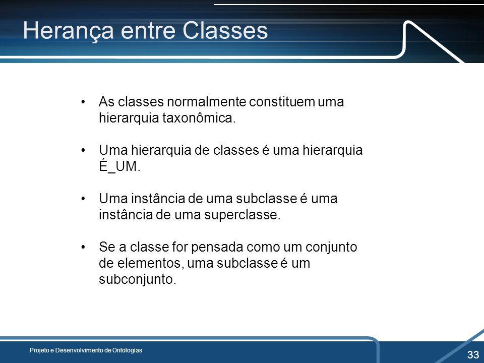 Herança entre ClassesAs classes normalmente constituem uma hierarquia taxonômica. Uma hierarquia de classes é uma hierarquia É_UM.