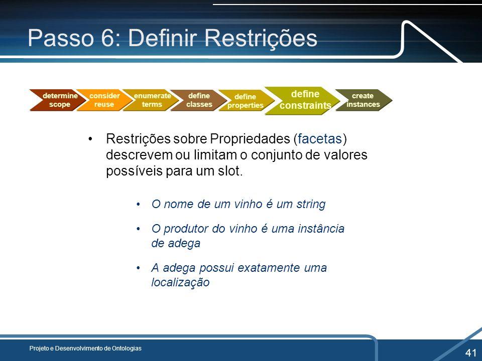 Passo 6: Definir Restrições