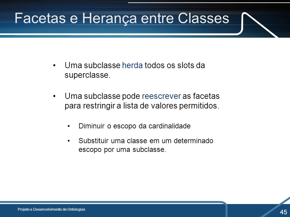 Facetas e Herança entre Classes