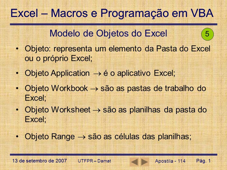 Modelo de Objetos do Excel