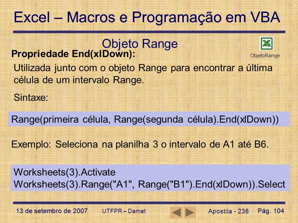Objeto Range Propriedade End(xlDown):