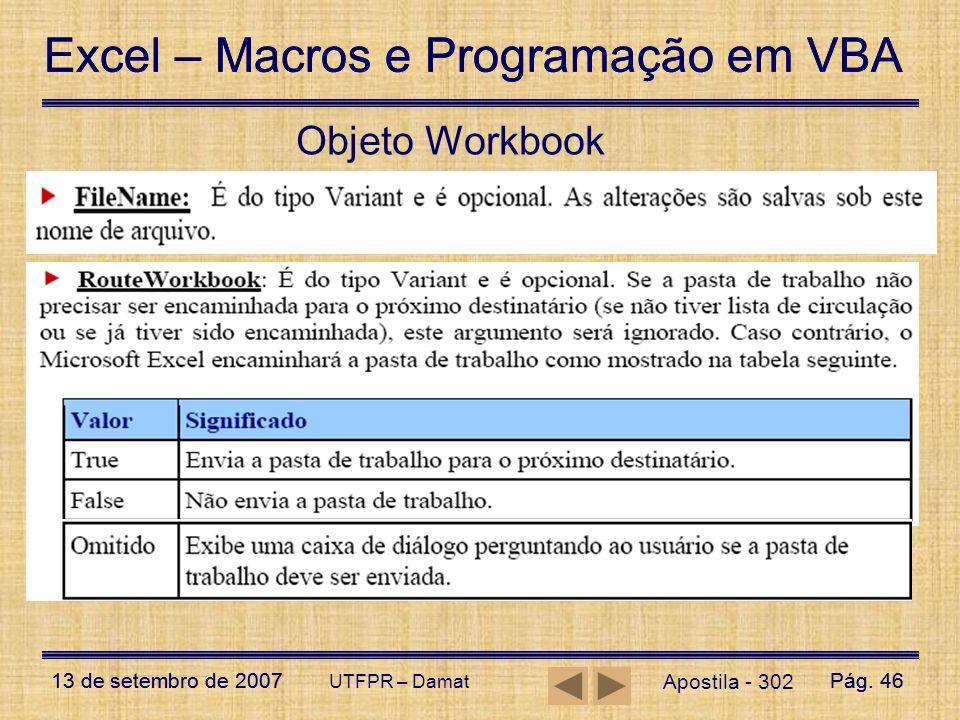 Objeto Workbook UTFPR – Damat Apostila - 302
