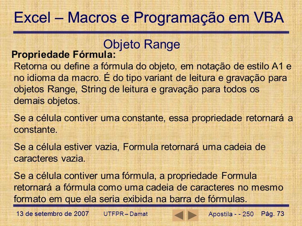 Objeto Range Propriedade Fórmula:
