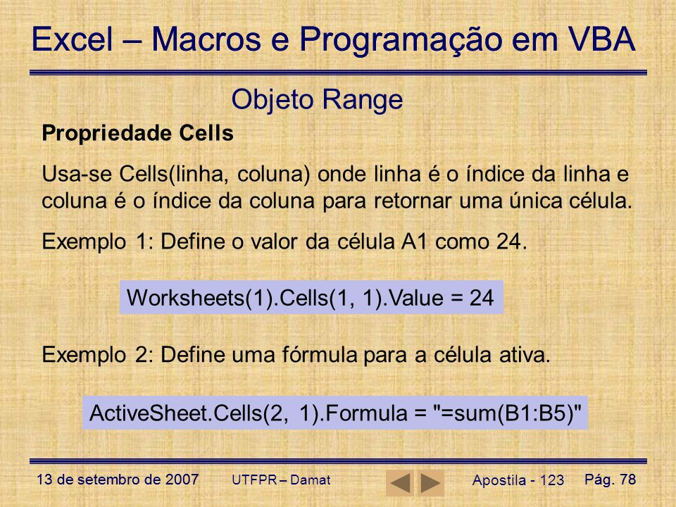 Objeto Range Propriedade Cells