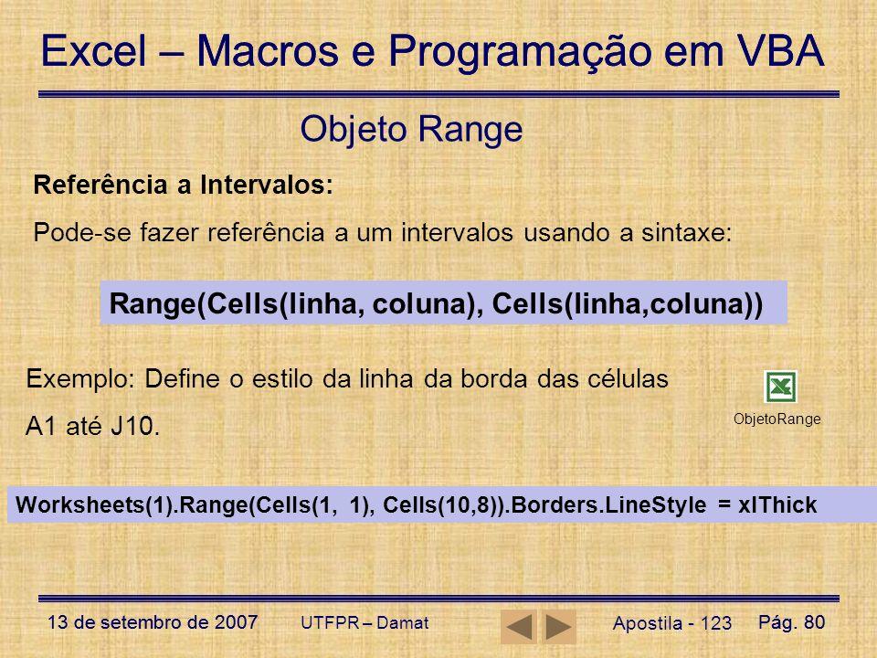 Objeto Range Range(Cells(linha, coluna), Cells(linha,coluna))