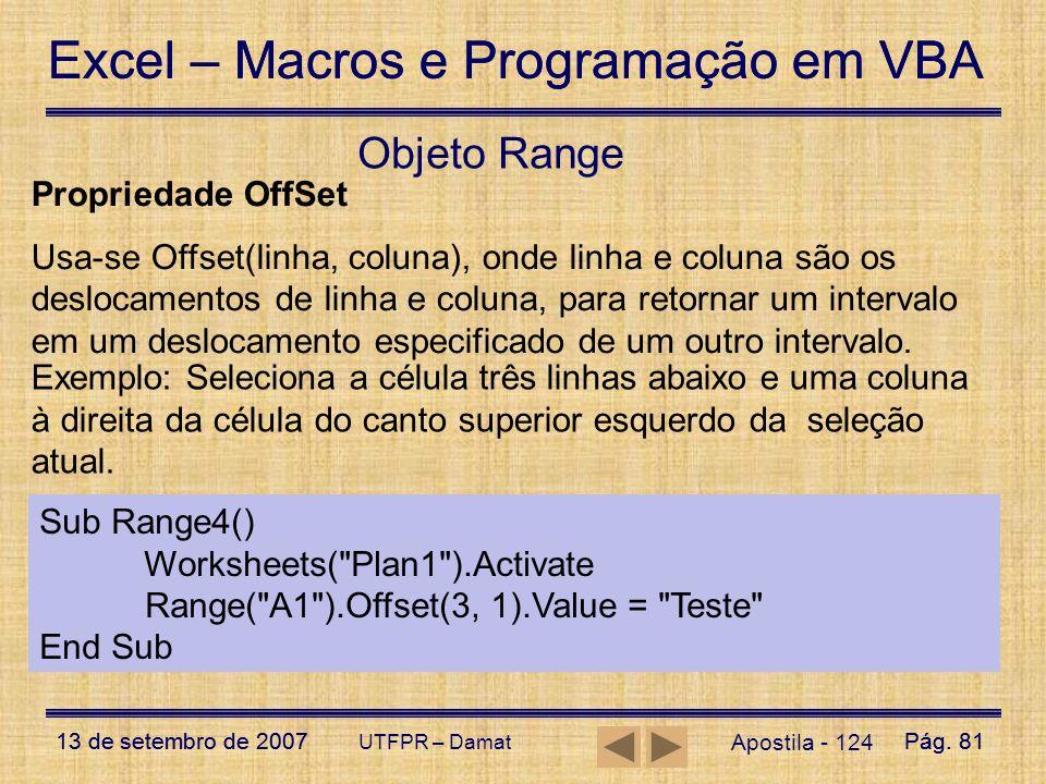 Objeto Range Propriedade OffSet
