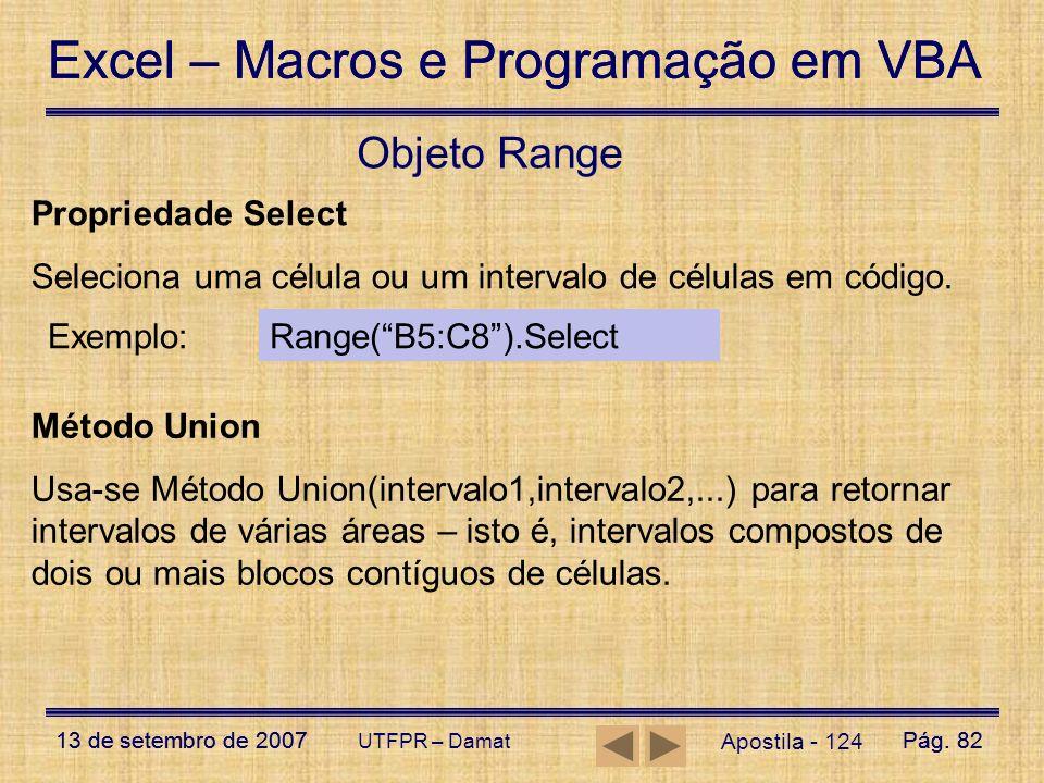 Objeto Range Propriedade Select