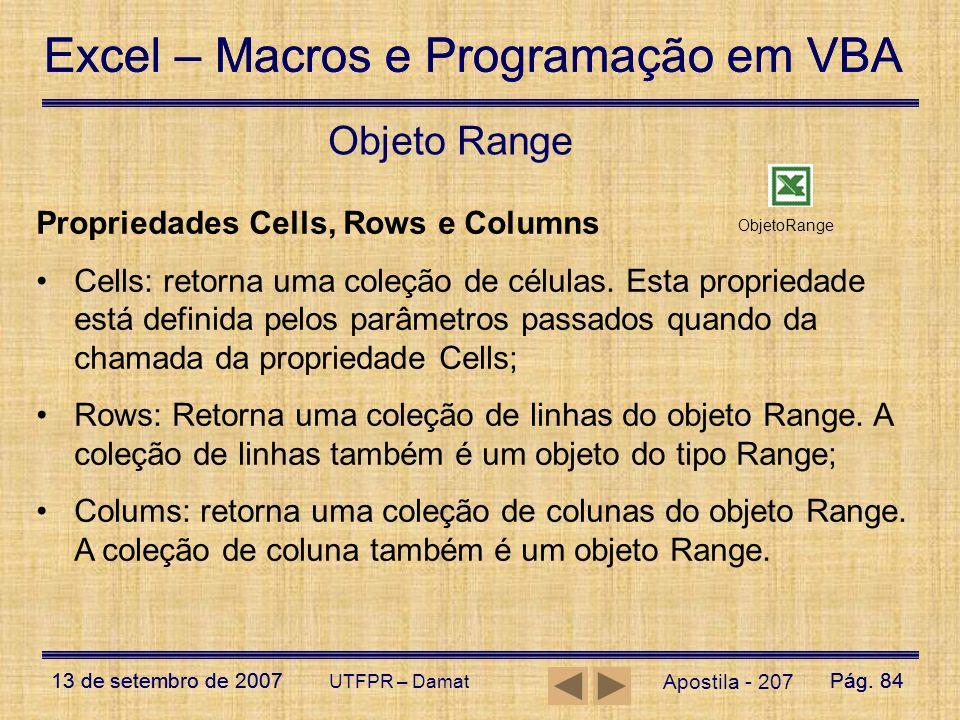 Objeto Range Propriedades Cells, Rows e Columns