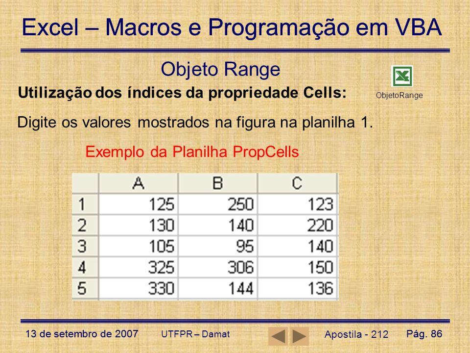 Objeto Range Utilização dos índices da propriedade Cells: