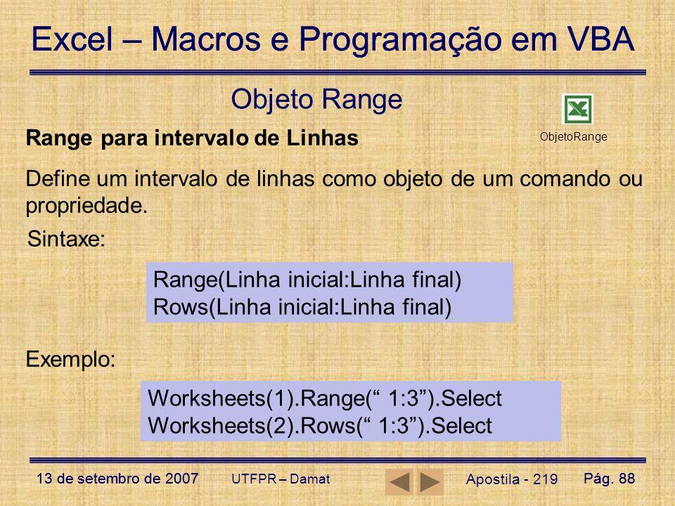 Objeto Range Range para intervalo de Linhas