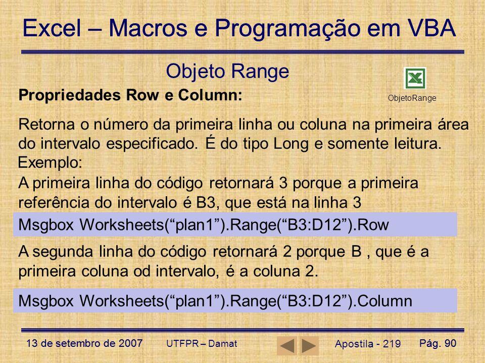 Objeto Range Propriedades Row e Column: