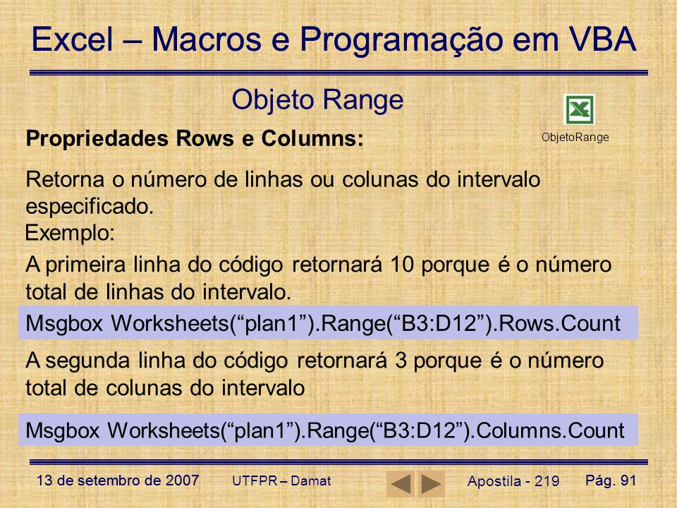 Objeto Range Propriedades Rows e Columns: