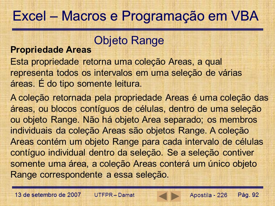 Objeto Range Propriedade Areas