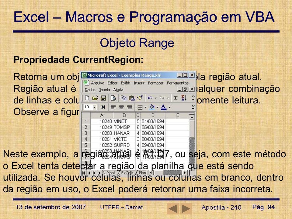 Objeto Range Propriedade CurrentRegion: