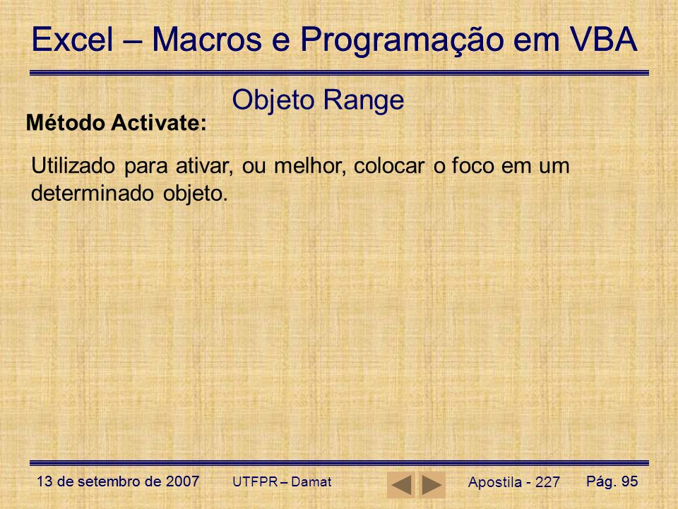 Objeto Range Método Activate: