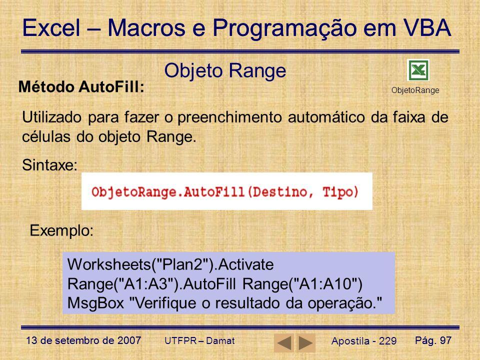Objeto Range Método AutoFill: