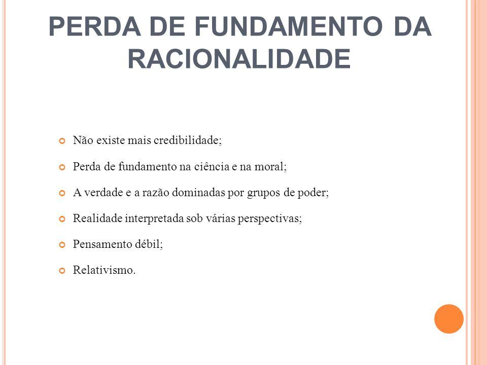 PERDA DE FUNDAMENTO DA RACIONALIDADE