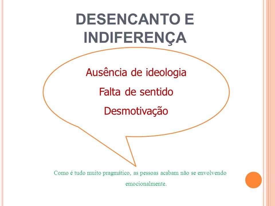 DESENCANTO E INDIFERENÇA