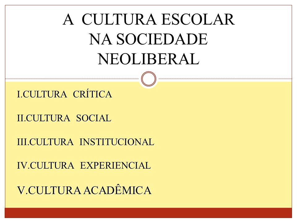 A CULTURA ESCOLAR NA SOCIEDADE NEOLIBERAL CULTURA ACADÊMICA