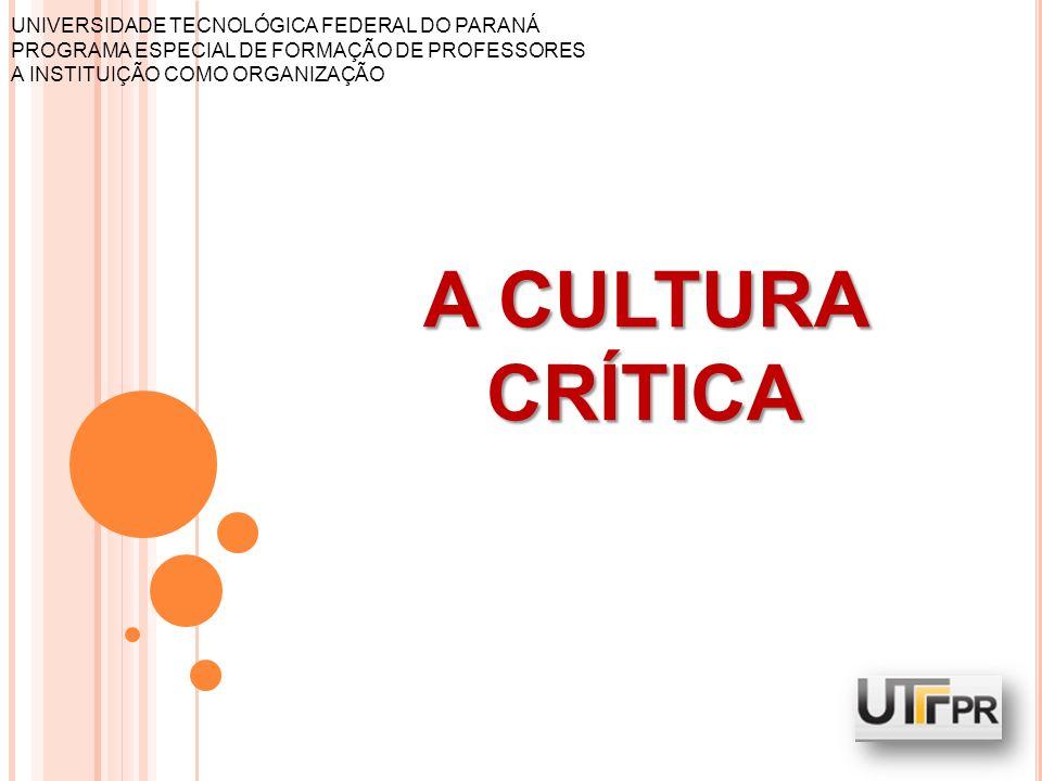 UNIVERSIDADE TECNOLÓGICA FEDERAL DO PARANÁ PROGRAMA ESPECIAL DE FORMAÇÃO DE PROFESSORES A INSTITUIÇÃO COMO ORGANIZAÇÃO