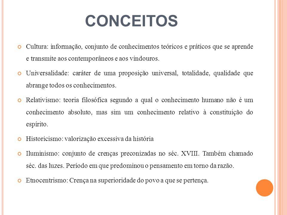CONCEITOS Cultura: informação, conjunto de conhecimentos teóricos e práticos que se aprende e transmite aos contemporâneos e aos vindouros.